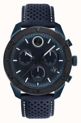 Movado Bracelet en cuir perforé bleu chronoraph audacieux pour homme 3600516
