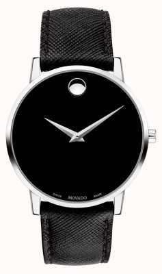 Movado Bracelet pour homme en cuir noir avec cadran noir 0607194