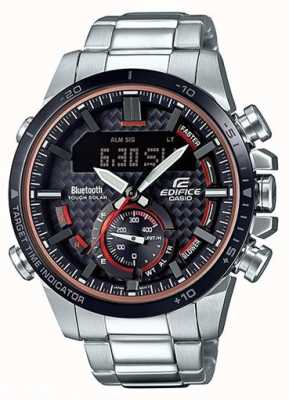 Casio Edifice bluetooth chronomètre en acier inoxydable rouge accents ECB-800DB-1AEF