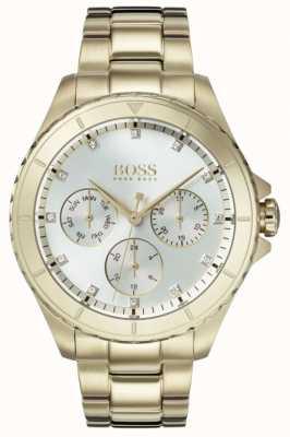 Boss Bracelet Premier plaqué or pour femme, cadran argenté 1502445