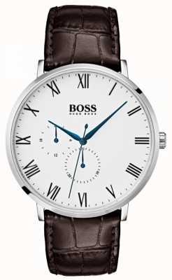 Hugo Boss Hommes william classic marron cuir cadran blanc 1513617