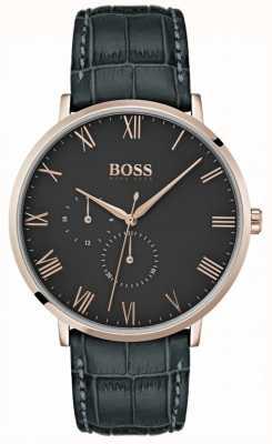 BOSS Étui William Classic en cuir gris foncé et cadran plaqué 1513619