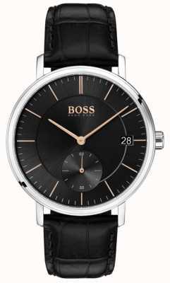 Hugo Boss Bracelet pour homme caporal en cuir noir avec cadran noir 1513638