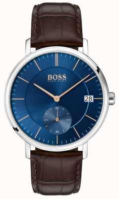 BOSS Bracelet en cuir marron corporel avec cadran bleu 1513639