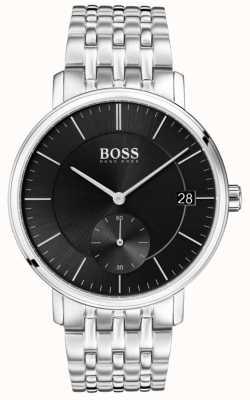 Hugo Boss Cadran noir pour homme en acier inoxydable 1513641