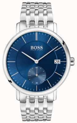 Hugo Boss Cadran bleu en acier inoxydable pour hommes 1513642