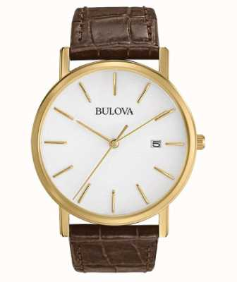 Bulova Montre homme classique en cuir marron 97B100