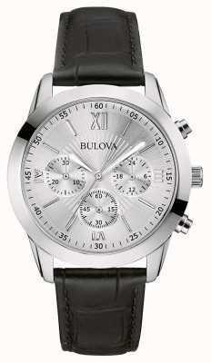 Bulova Montre chronographe classique en cuir noir pour homme 96A162