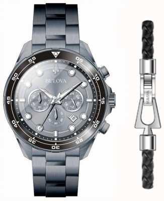 Bulova Ensemble de montre et bracelet plaqué pvd noir pour homme 98K104