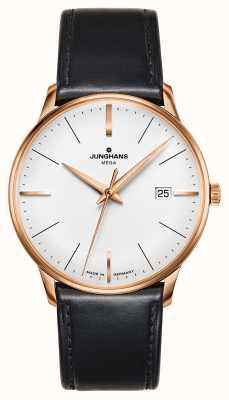 Junghans Meister mega mf - Étui en cuir noir avec bracelet en cuir 058/7800.00