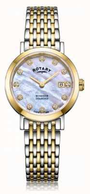 Rotary Womens windsor diamant date deux tons bracelet montre LB05301/41/D