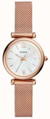 Fossil Womens mini carlie bracelet en maille de ton or rose montre ES4433