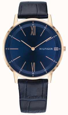 Tommy Hilfiger Montre homme Cooper bleu cuir bracelet en or rose 1791515