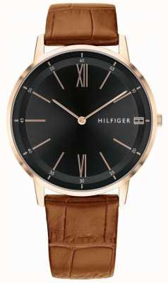 Tommy Hilfiger Montre homme en cuir marron cadran noir bracelet en acier 1791516
