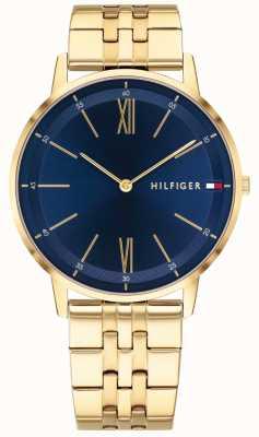 Tommy Hilfiger Montre cooper homme bracelet ton or cadran bleu 1791513