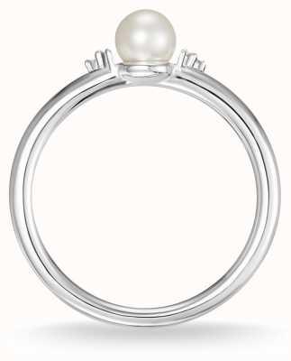 Thomas Sabo Bague en argent sterling avec perle et diamant blanc taille 54 D_TR0039-765-14-54