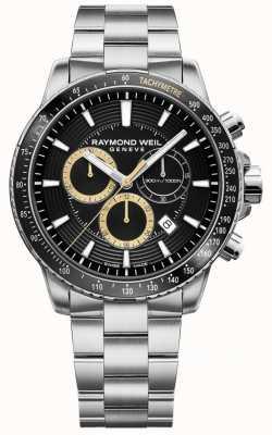 Raymond Weil Montre homme Tango 300 bracelet en acier inoxydable noir chrono 8570-ST1-20701