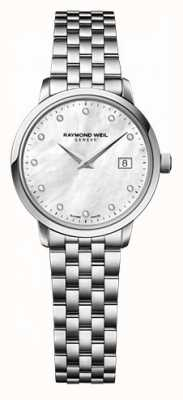 Raymond Weil Womens freelancer moher de perle cadran montre en diamant 5626-ST-97081