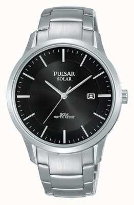 Pulsar Boîtier en acier inoxydable pour homme et bracelet cadran noir solaire PX3161X1