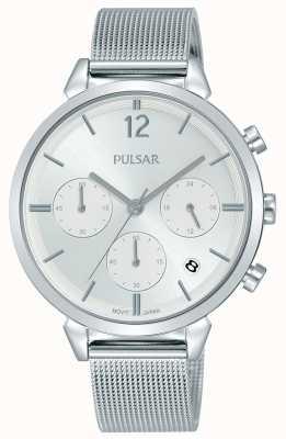 Pulsar Mesdames boîtier en acier inoxydable chronographe cadran argent PT3943X1