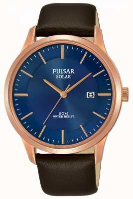 Pulsar Bracelet en cuir marron plaqué or rose pour homme PX3164X1