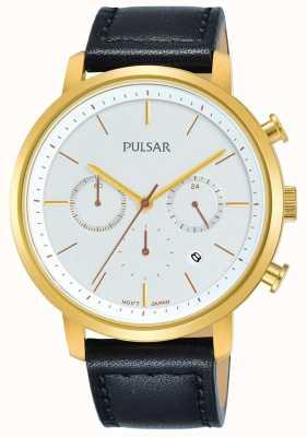 Pulsar Boîtier plaqué or homme bracelet en cuir noir daté chronographe PT3938X1