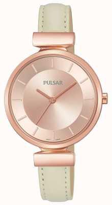 Pulsar Mesdames rose plaqué or bracelet cuir crème PH8418X1