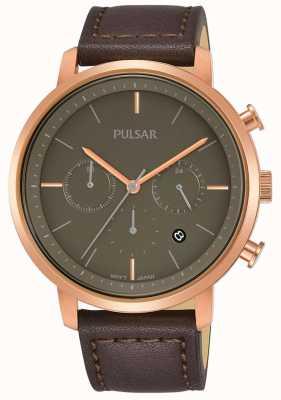 Pulsar Boîtier pour homme plaqué or rose Bracelet en cuir marron PT3940X1