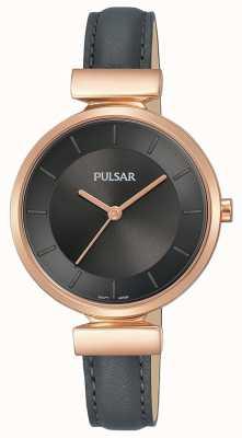 Pulsar Mesdames rose plaqué or boîtier en cuir gris foncé PH8420X1