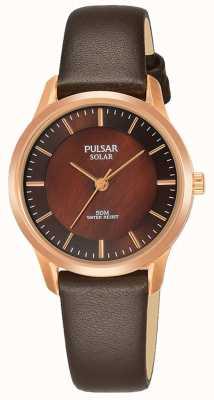 Pulsar Mesdames rose plaqué or boîtier bracelet en cuir marron cadran brun PY5044X1