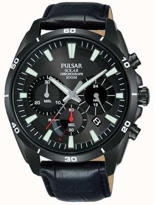 Pulsar Bracelet cuir noir cadran solaire solaire homme noir PZ5063X1