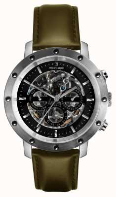 Weird Ape Icarus 3 cadran noir argent / bracelet en cuir vert olive WA02-005721