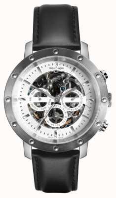 Weird Ape Icarus 3 cadran blanc argent / bracelet en cuir noir WA02-005740