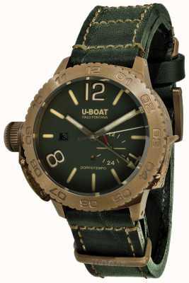 U-Boat Bracelet en cuir vert automatique Doppio tempo 46 bronzo gr 9088