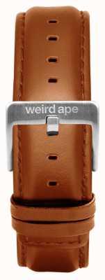 Weird Ape Bracelet en cuir brun 20mm boucle argentée ST01-000100