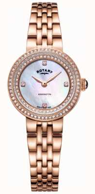 Rotary Montre-bracelet pour femme en or rose avec cristaux de kensington LB05374/41