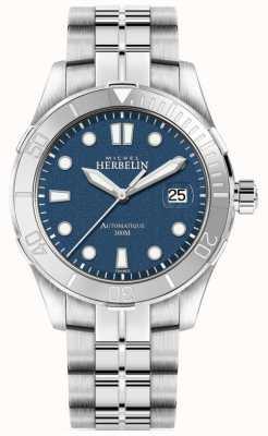Michel Herbelin Cadran argenté pour homme bracelet argent cadran bleu 1660/15B