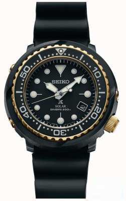 Seiko Mens thon noir et or solaire prospex plongeurs regarder SNE498P1