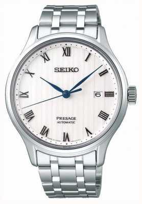Seiko Bracelet en acier inoxydable à cadran blanc automatique Presage pour homme SRPC79J1