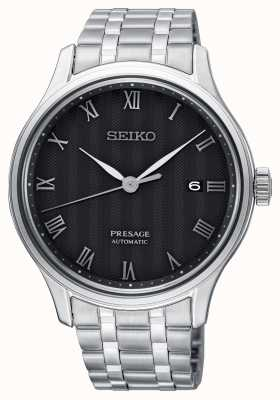 Seiko Bracelet en acier inoxydable à cadran noir automatique Presage pour homme SRPC81J1