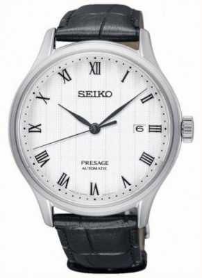 Seiko Bracelet en cuir noir pour cadran blanc SRPC83J1