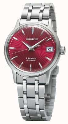 Seiko Montre automatique pour femme Presage cadran rouge en acier inoxydable SRP853J1