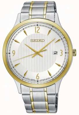 Seiko Mens modèle classique blanc cadran deux tons regarder SGEH82P1