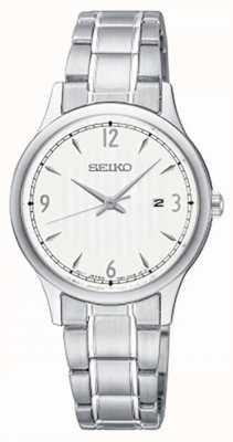 Seiko Womens classique modèle blanc cadran en acier inoxydable montre SXDG93P1