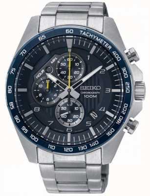Seiko Montre homme chronographe bleu acier bracelet chronographe SSB321P1