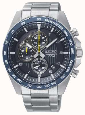 Seiko Montre bracelet en acier chronographe bleu sport automobile pour homme SSB321P1