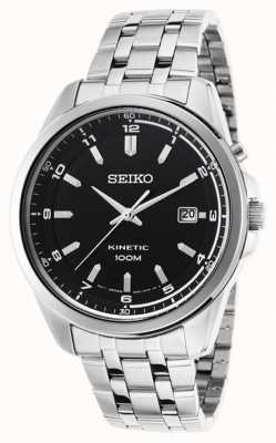 Seiko Cadran en acier inoxydable pour homme avec cadran noir SKA633P1