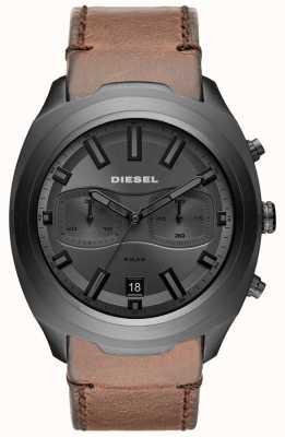 Diesel Montre homme chronographe gris en cuir marron DZ4491