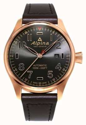 Alpina Homme startimer pilote automatique cadran marron marron cuir AL-525GG4S4