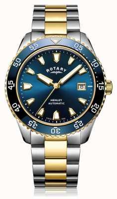Rotary Montre automatique Henley à cadran bleu avec bracelet bicolore pour homme GB05131/05